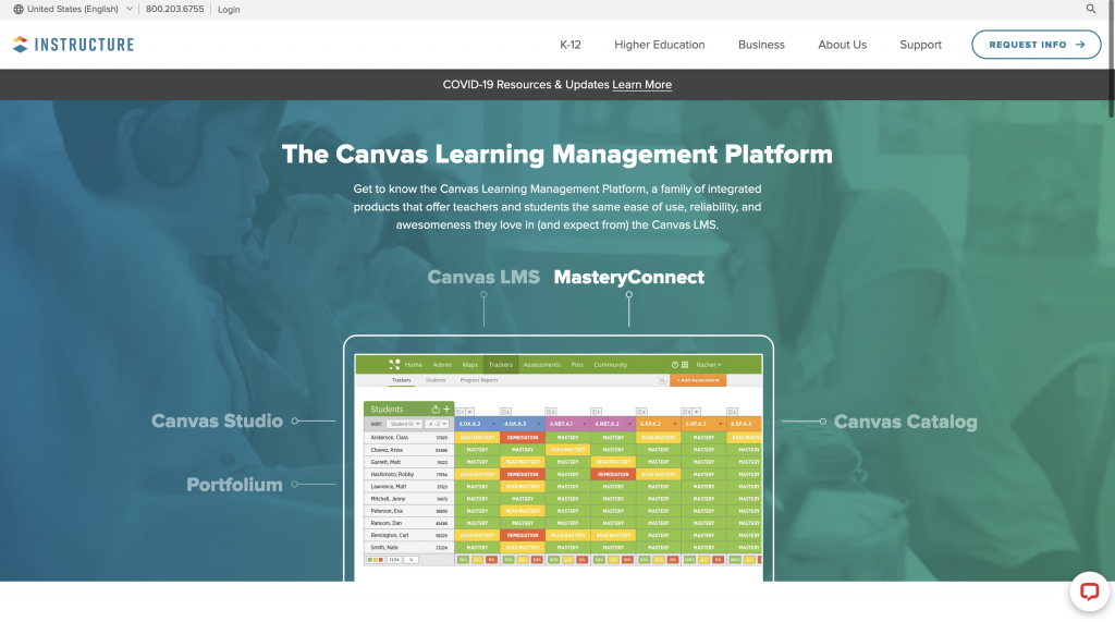 Canvas LMS demo picture.